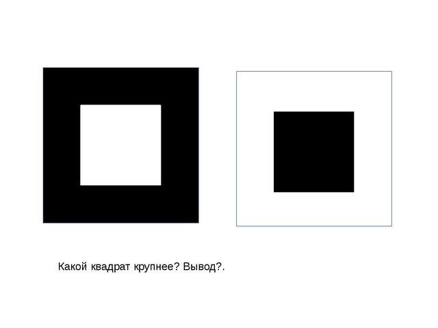 Какой квадрат крупнее? Вывод?. Черный и белые квадраты одинаковые.