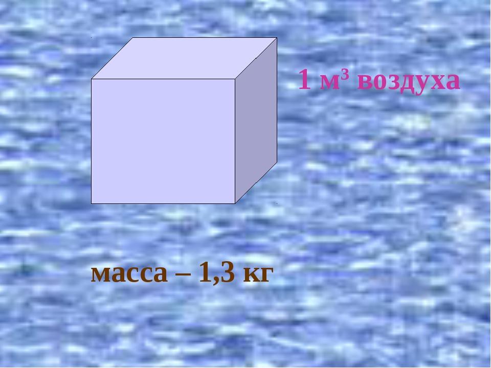 1 м3 воздуха масса – 1,3 кг