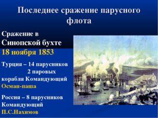 Последнее сражение парусного флота Сражение в Синопской бухте 18 ноября 1853