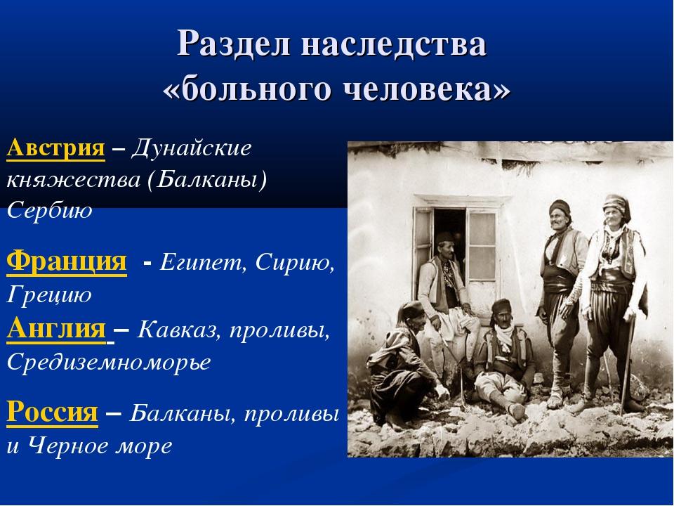 Раздел наследства «больного человека» Австрия – Дунайские княжества (Балканы)...