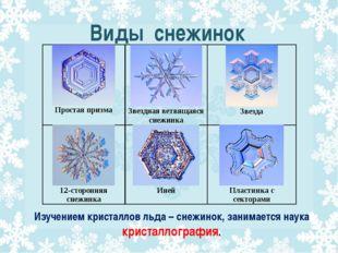 Виды снежинок Изучением кристаллов льда – снежинок, занимается наука кристалл