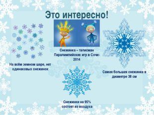 Это интересно! Снежинка – талисман Паралимпийских игр в Сочи-2014 Самая больш