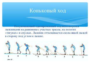 Коньковый ход Полуконьковый одновременный ход используется лыжниками на равн