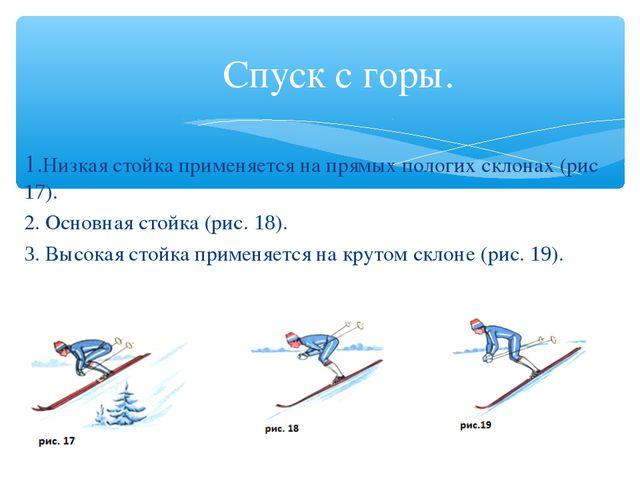 Спуск с горы. 1.Низкая стойка применяется на прямых пологих склонах (рис 17)....