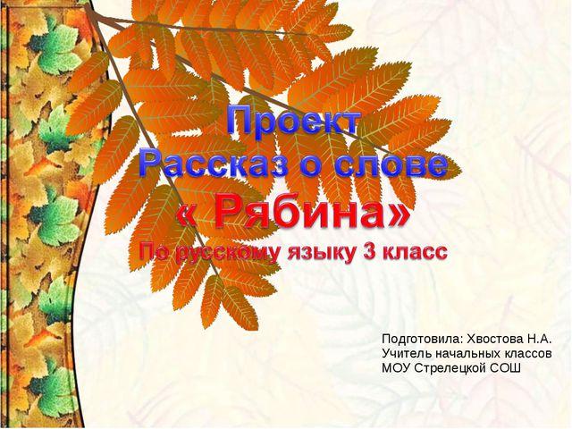 Подготовила: Хвостова Н.А. Учитель начальных классов МОУ Стрелецкой СОШ