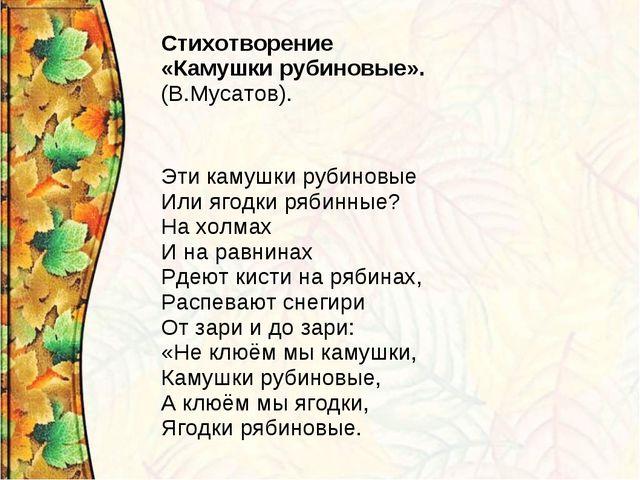 Стихотворение «Камушки рубиновые». (В.Мусатов).  Эти камушки рубиновые Или я...