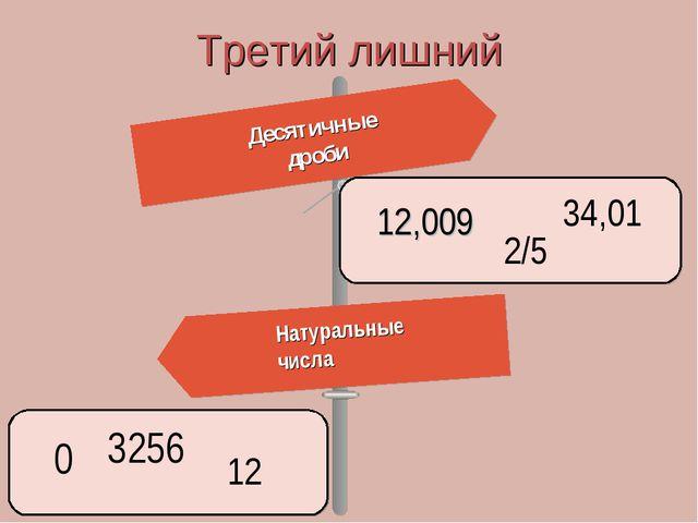 Десятичные дроби Третий лишний Натуральные числа 12,009 2/5 34,01 0 12 3256