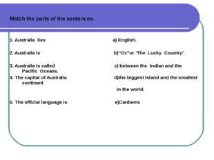 Match the parts of the sentences. 1. Australia lies a) English. 2. Australia