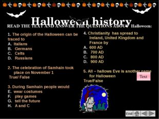 "End Go to the following web site Research the origins of ""trick or treating"""