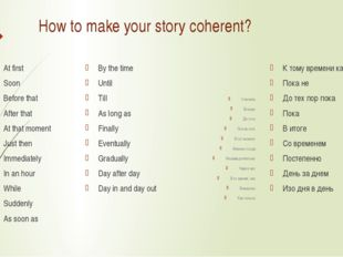 How to make your story coherent? At first Soon Before that After that At that