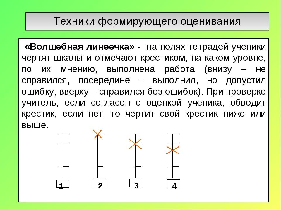Техники формирующего оценивания «Волшебная линеечка» - на полях тетрадей учен...