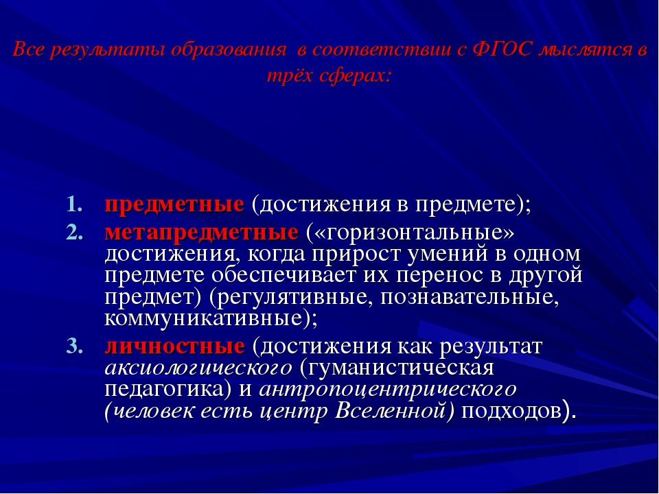 Все результаты образования в соответствии с ФГОС мыслятся в трёх сферах: пред...