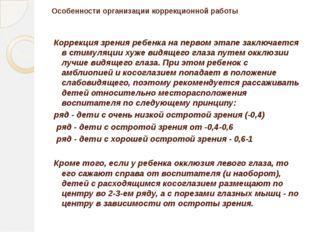 Особенности организации коррекционной работы Коррекция зрения ребенка на перв