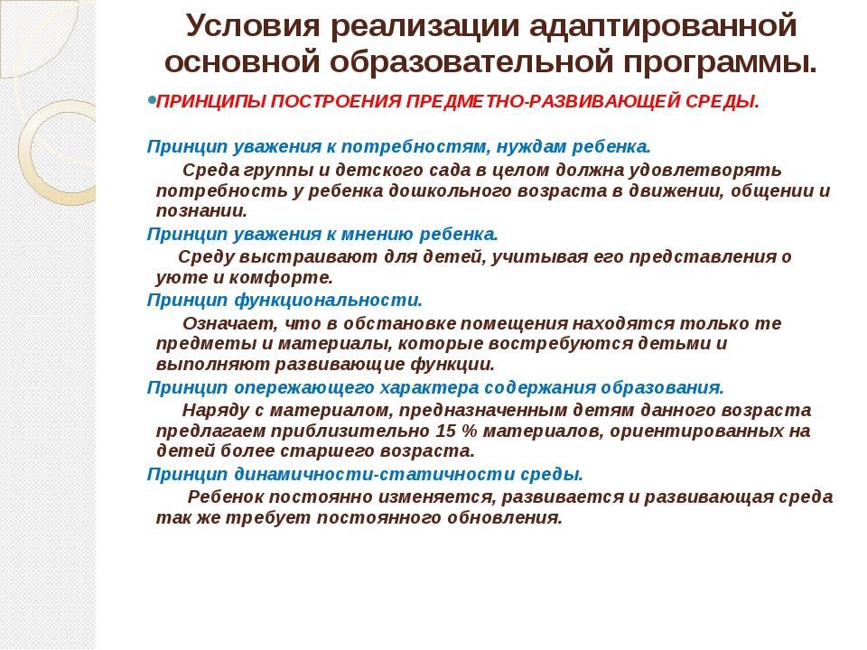 Условия реализации адаптированной основной образовательной программы. ПРИНЦИП...