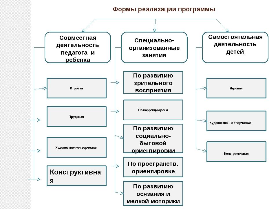 Формы реализации программы Совместная деятельность педагога и ребенка Специал...