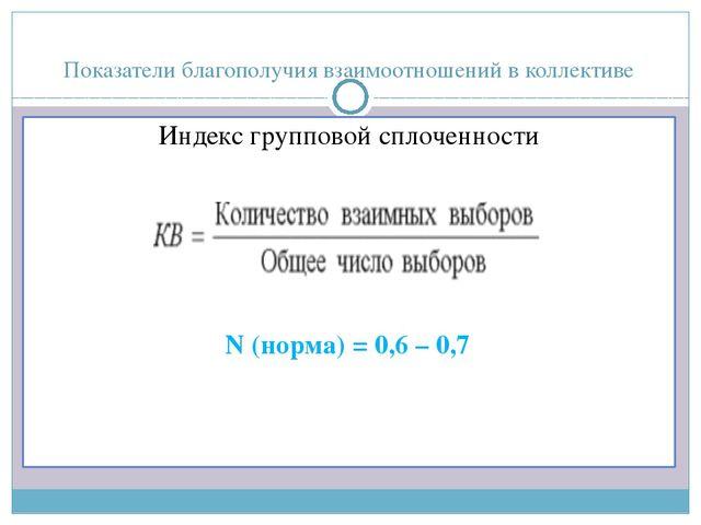 Показатели благополучия взаимоотношений в коллективе Индекс групповой сплочен...
