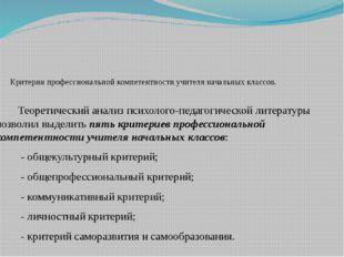 Критерии профессиональной компетентности учителя начальных классов. Теоретич