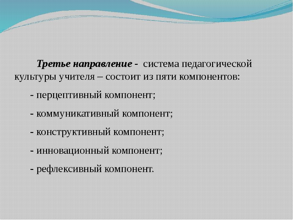 Третье направление - система педагогической культуры учителя – состоит из пя...
