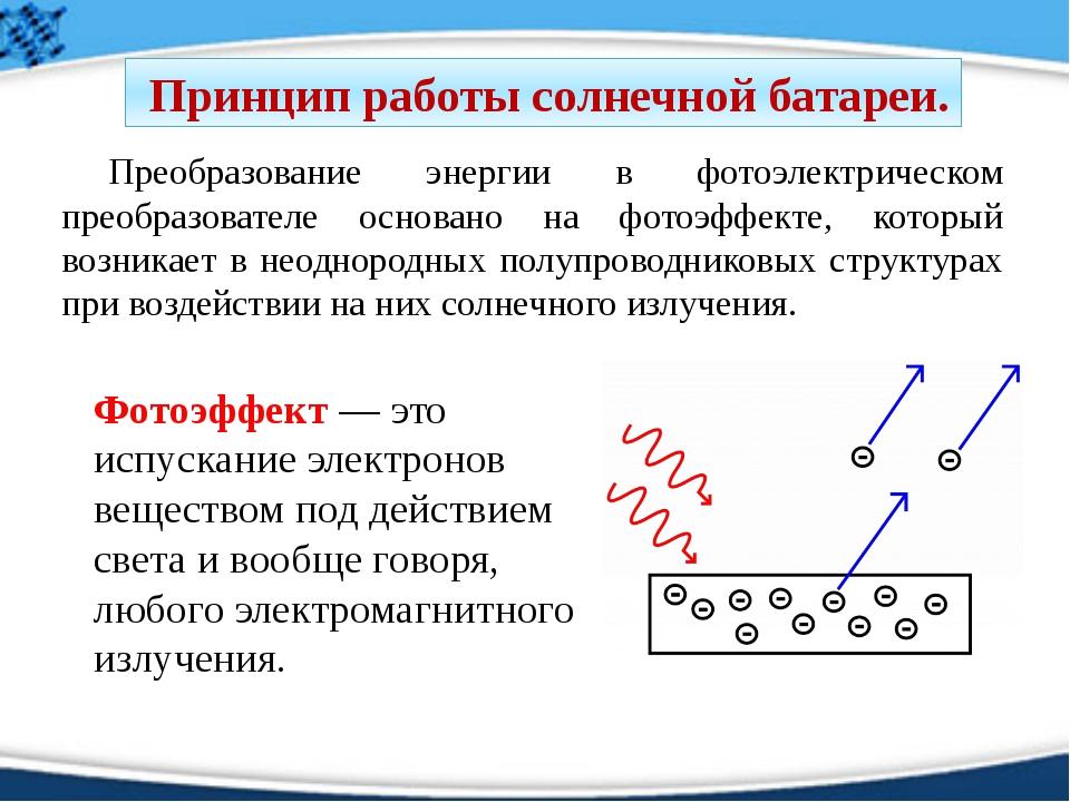 Преобразование энергии в фотоэлектрическом преобразователе основано на фотоэ...
