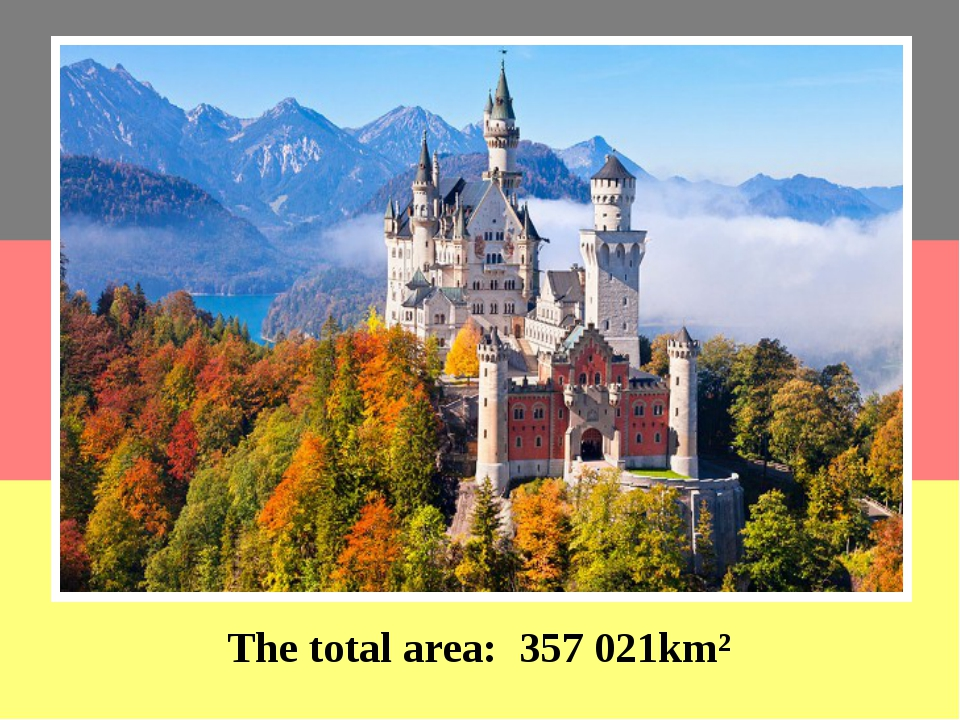 The total area: 357 021km² Germany is the eighth largest country in Europe....