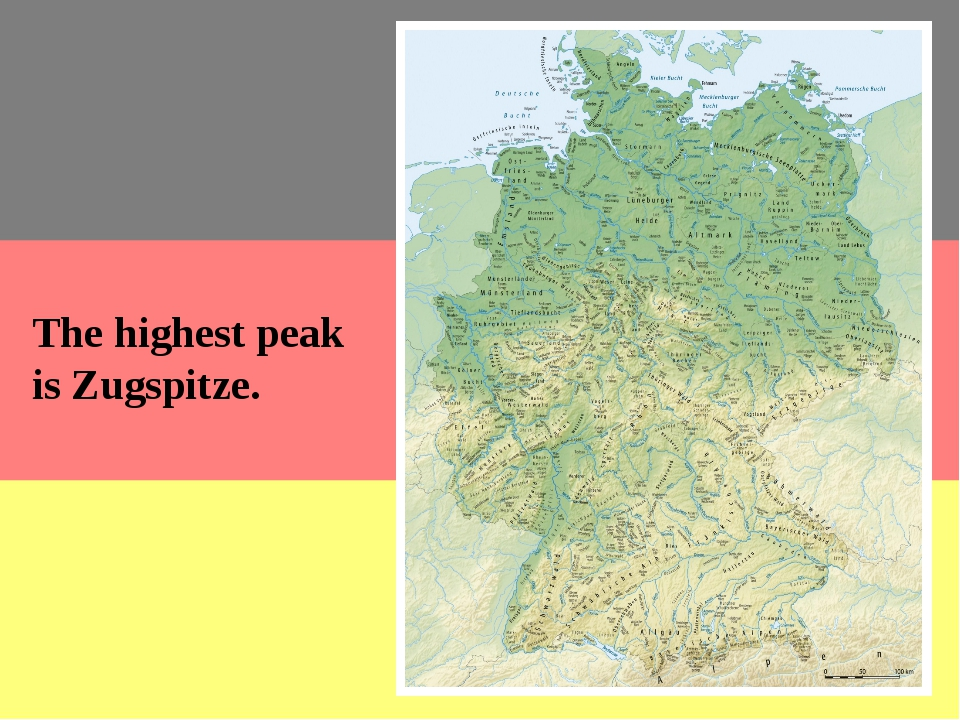 The highest peak is Zugspitze. The lowlands are in the northern part of the c...