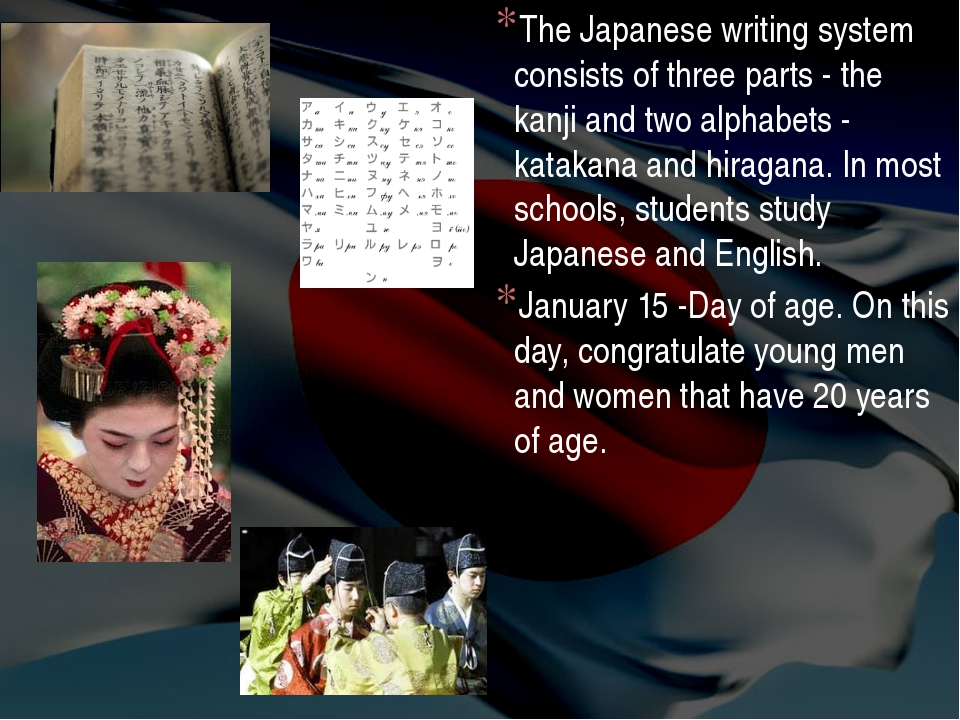 The Japanese writing system consists of three parts - the kanji and two alpha...