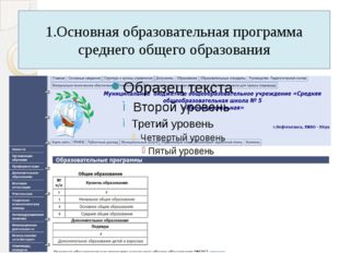 1.Основная образовательная программа среднего общего образования
