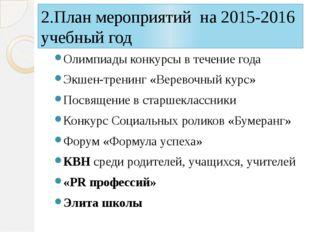 2.План мероприятий на 2015-2016 учебный год Олимпиады конкурсы в течение года