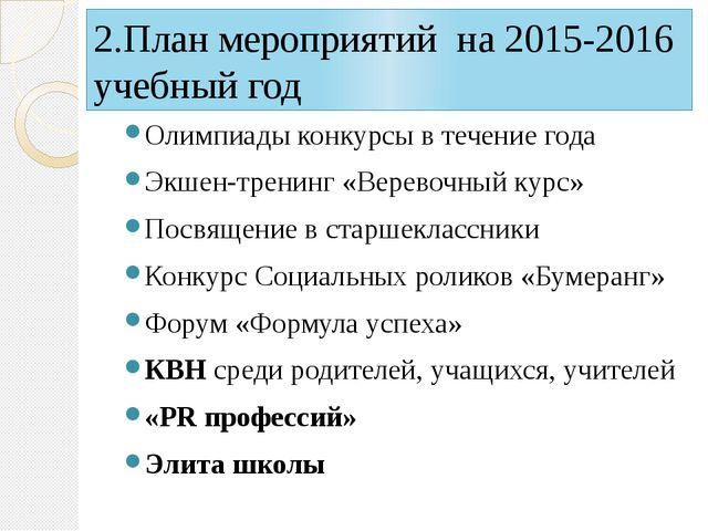 2.План мероприятий на 2015-2016 учебный год Олимпиады конкурсы в течение года...