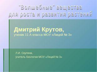 Дмитрий Крутов, ученик 11 А класса МОУ «Лицей № 3» Л.И. Скулина, учитель биол