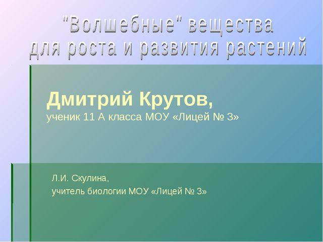 Дмитрий Крутов, ученик 11 А класса МОУ «Лицей № 3» Л.И. Скулина, учитель биол...