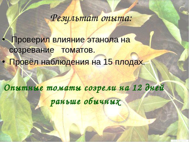Результат опыта: Проверил влияние этанола на созревание томатов. Провёл наблю...