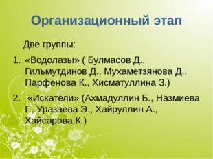 Организационный этап Две группы: «Водолазы» ( Булмасов Д., Гильмутдинов Д., М