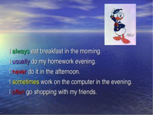 I always eat breakfast in the morning. I usually do my homework evening. I n