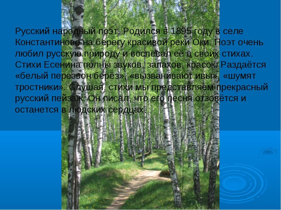 Русский народный поэт. Родился в 1895 году в селе Константиново на берегу кра...