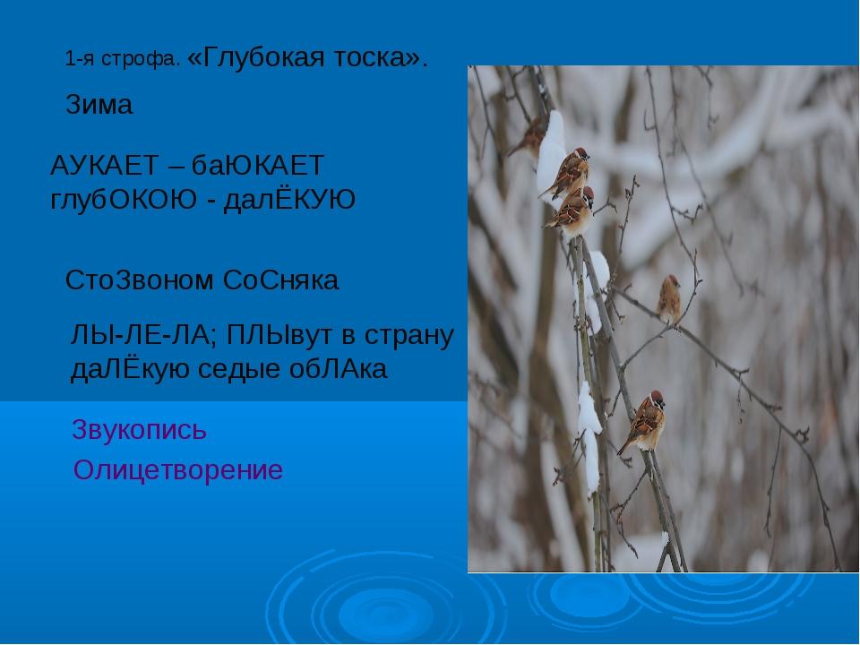 1-я строфа. Зима «Глубокая тоска». АУКАЕТ – баЮКАЕТ глубОКОЮ - далЁКУЮ СтоЗво...