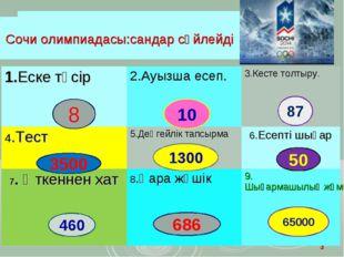 * Сочи олимпиадасы:сандар сөйлейді 8 10 87 3500 1300 50 460 686 65000 Сочи ол