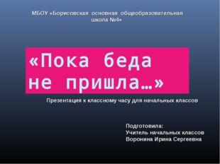 «Пока беда не пришла…» МБОУ «Борисовская основная общеобразовательная школа №