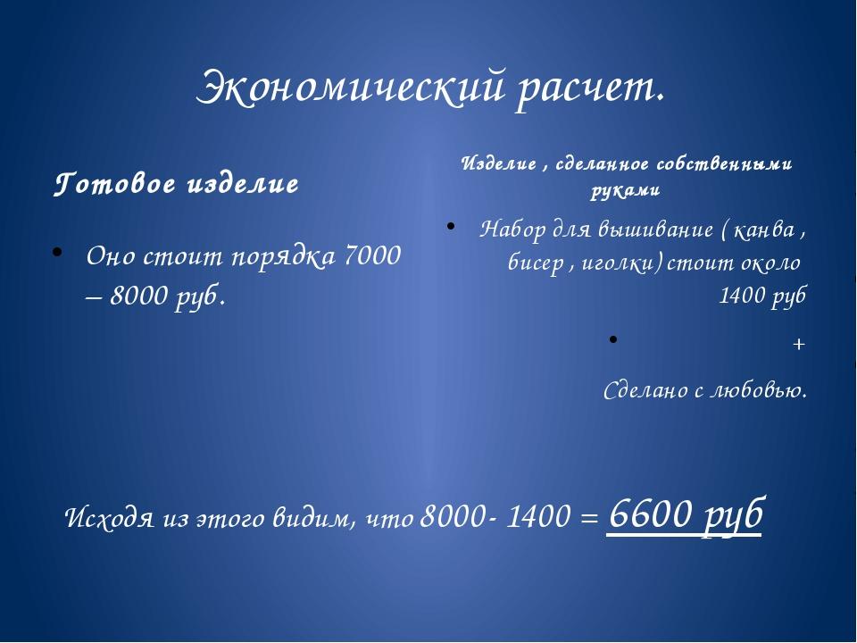 Экономический расчет. Готовое изделие Оно стоит порядка 7000 – 8000 руб. Изде...