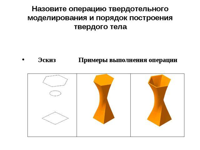 Эскиз Примеры выполнения операции Назовите операцию твердотельного моделир...