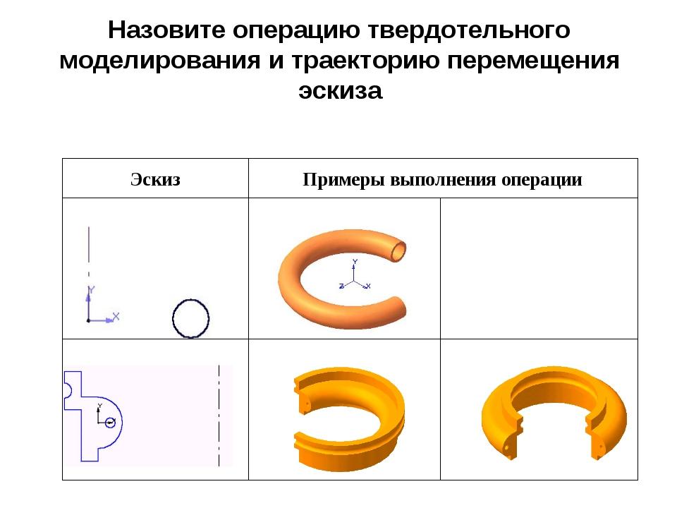 Назовите операцию твердотельного моделирования и траекторию перемещения эскиза