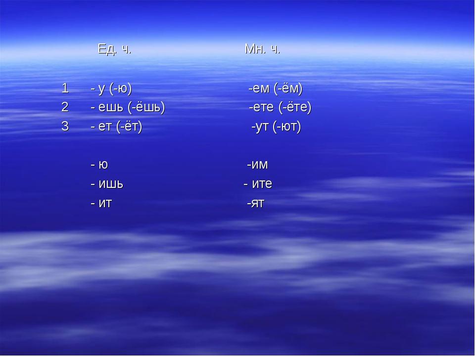 Ед. ч. Мн. ч. 1 - у (-ю) -ем (-ём) 2 - ешь (-ёшь) -ете (-ёте) 3 - ет (-ёт) -...