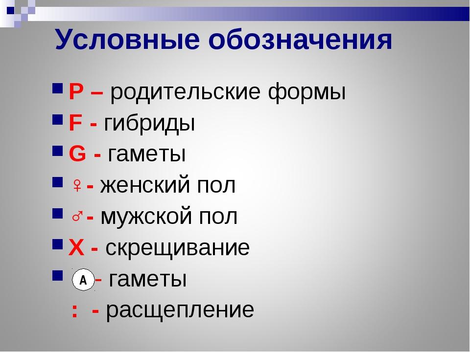 Условные обозначения Р – родительские формы F - гибриды G - гаметы ♀- женский...