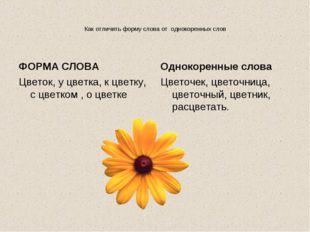 Как отличить форму слова от однокоренных слов ФОРМА СЛОВА Цветок, у цветка, к