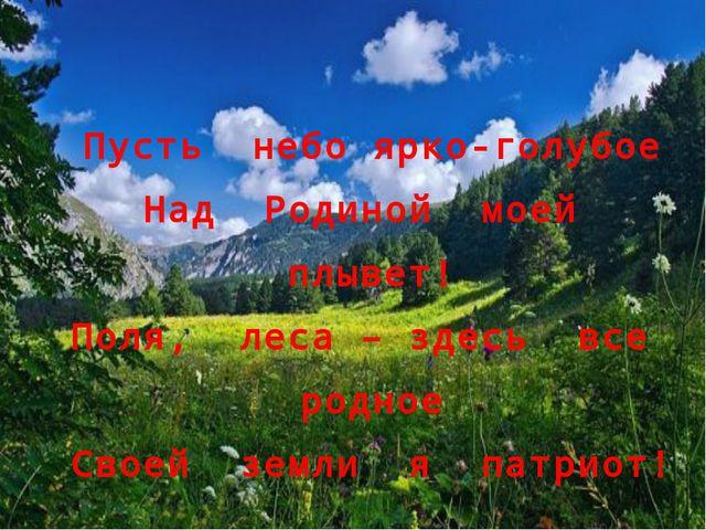 Пусть небо ярко-голубое Над Родиной моей плывет! Поля, леса – здесь все родно...