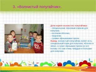 Дети кормят волнистого попугайчика: - специальным зерновым кормом для попуга