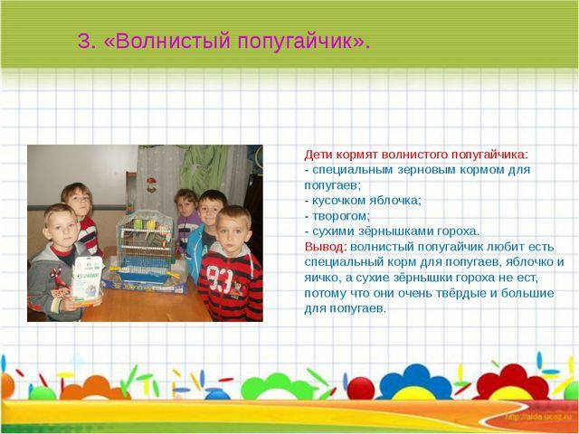 Дети кормят волнистого попугайчика: - специальным зерновым кормом для попуга...