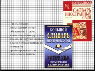 В «Словаре иностранных слов» объясняются слова, заимствованные русским языко