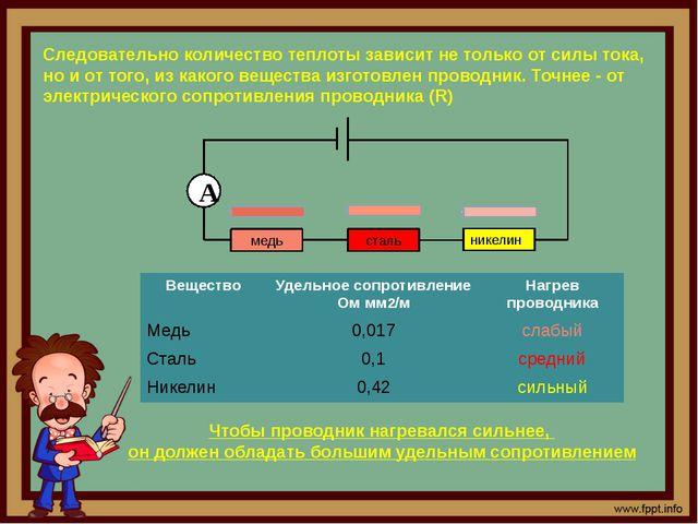 медь никелин сталь А Следовательно количество теплоты зависит не только от си...