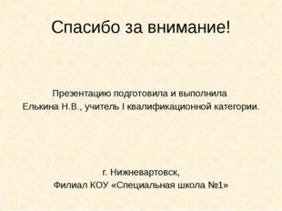 Спасибо за внимание! Презентацию подготовила и выполнила Елькина Н.В., учител